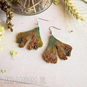 liście miłorzębu - kolczyki z efektem rdzy, miłorzęby