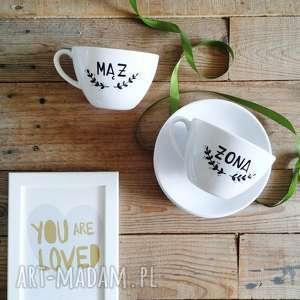 komplet filiżanek ślubnych, porcelanowe, malowane, ślubne, ręcznie malowane