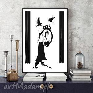 Ilustracja 50x70 cm parallel world plakat, grafika, czarno biały