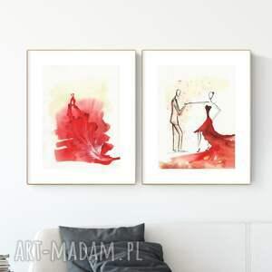 zestaw 2 obrazów 30x40 cm wykonanych ręcznie, abstrakcja, 2922144