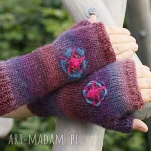 handmade rękawiczki mitenki marsala