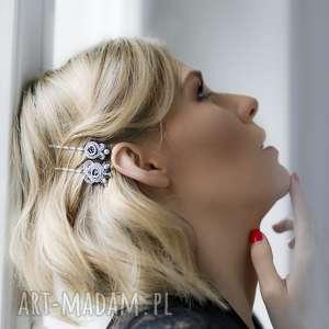 "Srebrna elegancka spinka do włosów typu wsuwka - srebrny sutasz.Kolekcja ""Little black"