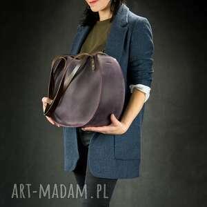 torebka ręcznie wykonana z naturalnej skóry basia w kolorze śliwkowym rozmiary l