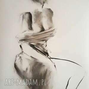 woman 100x70, duży obraz do salonu, rysunek węglem kobieta, czarno biała grafika