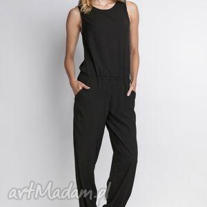 Kombinezon, KB101 czarny, kombinezon, casual, bezrękawów, spodnie, szerokie
