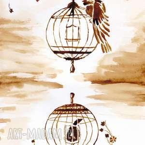 aksinicoffeepainting dwa ptaszyska - obraz kawą malowany, klatka, ptaki