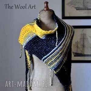 the wool art asymetryczna chusta, szal, baktus, wełniana, na drutach