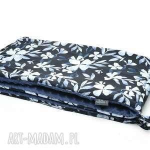 pracownia milutka ochraniacz do łóżeczka minky dwustronny blue flowers /