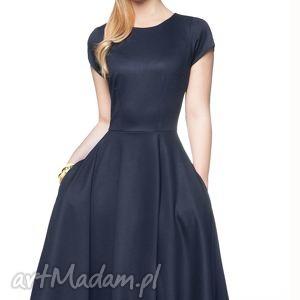 Sukienka STAR Midi Granat, sukeinka, rozkloszowana, granatowa, midi