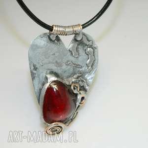 serce z okiem -n44, wisior, wisior serce, unikatowa biżuteria, unikalny
