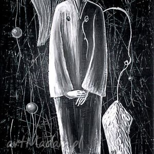 anioł smutku, obraz, czarnobiałe, marinaczajkowska, 4mara, prezent, sztuka dom