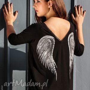 bluzka skrzydła black angel 3 4, bluzka, skrzydła, anioł, malowanka, motyw