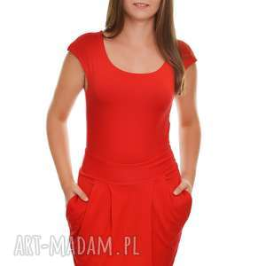 sukienka elgancka i stylowa z kieszeniami xl, sukienka, damska, wiskoza, czerwona