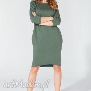 Sukienka midi z kieszeniami na biodrach T105 kolor zielony - TESSITA, elegancka,
