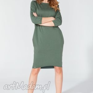 sukienka midi z kieszeniami na biodrach t105 kolor zielony - tessita - elegancka, midi