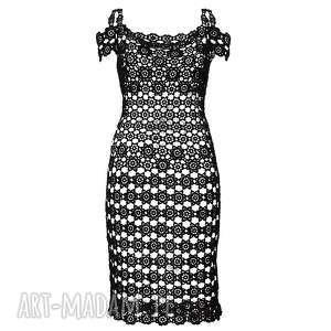 sukienka koronkowa czarna carpe diem, sukienka, koronkowa, szydełkowa