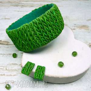 Prezent wełniany komplet biżuterii w odcieniach zieleni, biżuteria-na-prezent