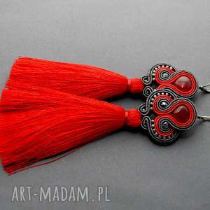 kolczyki sutasz z kocim okiem, sznurek, eleganckie, wiszące, kolorowe