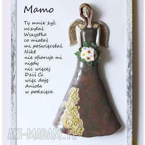 Anioł w podziękowaniu dla Mamy, ceramika, anioł, kwiaty