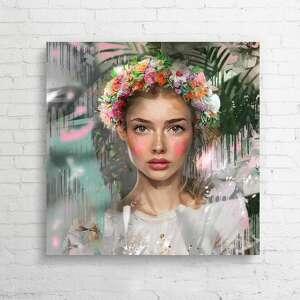 autorski obraz na płótnie dobrochna, obraz, plakat, dodatki, kwiaty, folk
