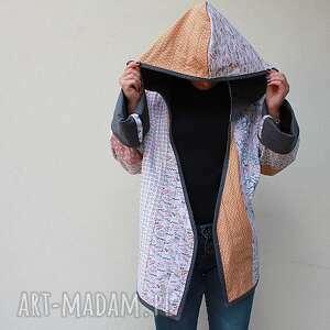 ręcznie zrobione płaszcze płaszcz patchworkowy z kapturem - waciak