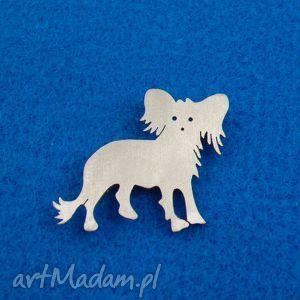 Prezent Broszka Chiński grzywacz pies nr.2, broszka, pies, chiński-grzywacz