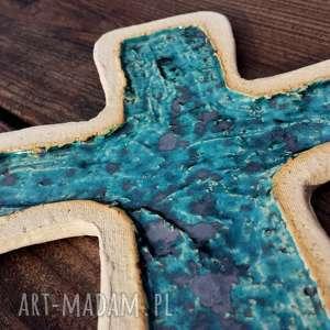 krzyżyk ceramiczny na ścianę 6, krzyż, krzyżyk, ceramiczny, fusing, szkło, glina