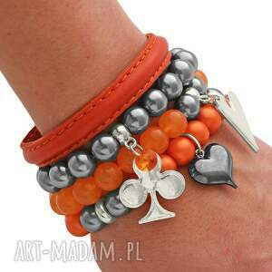 orange jade steel pearl strap & glass pearl set - rzemień, swarovski