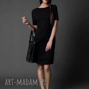 klasyczna sukienka z rękawkiem / esther, prosta sukienka, mała czarna, czarna