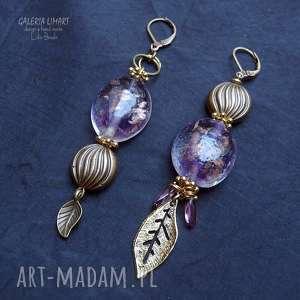 szkło wenecki wielkiej urody kolczyki asymetryczne handmade, efektowne