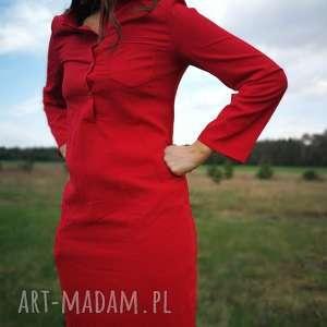 sukienki szmizjerka letnia długa sukienka czerwona żorżeta