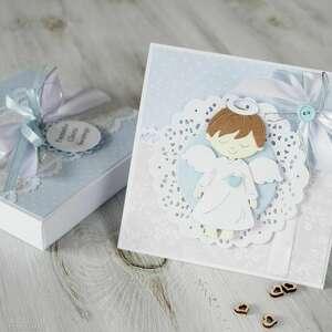kartka na chrzest lub komunię - w pudełku - komunia, prezent