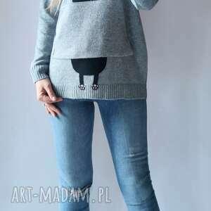 bluzy bluza, sweter z kapturem, sweter, aplikacją, kieszeniami