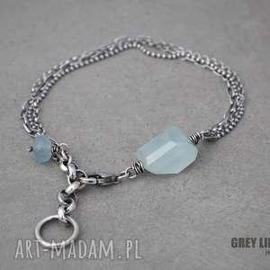 bransoletka mini z akwamarynem - srebro, akwamaryn, mini, minerały
