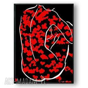 grafika w ramie moja walentynka 30x40, kobieta, serca, miłosna, z kobietą