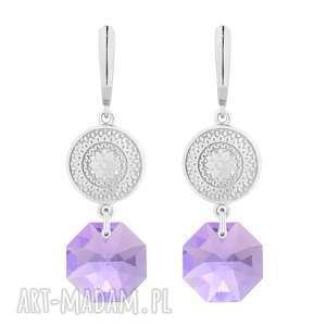 srebrne długie kolczyki z medalionami i kryształami kryształy
