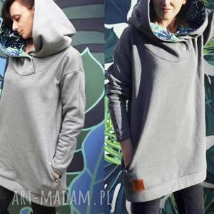 agagu oversize długa bluza hoodie ogromny kaptur monstera l, dresowa