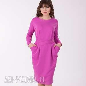 sukienki ida sukienka z kieszeniami, liliowa, sukienka, lalu, kieszenie, luźna