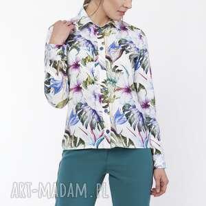 koszula damska z dłuższym tyłem, k112 liście, elegancka, koszula, printy