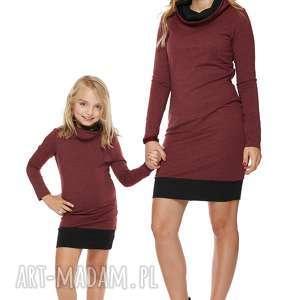 mama i córka sukienka dla córki ld1/3, sukienka, dresowa, komin, sciągacz, komplet