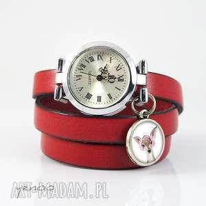 zegarek, bransoletka - sarenka czerwony, skórzany, bransoletka, skórzana