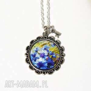 naszyjnik, medalion - niebieskie chabry, medalion, kwiaty
