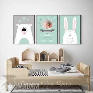 miętowa metryczka ze zdjęciem zestaw a4 - miś, królik, metryczka