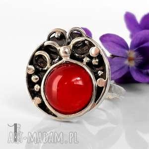 hand made pierścionki fragaria srebrny pierścionek z agatem brazylijskim