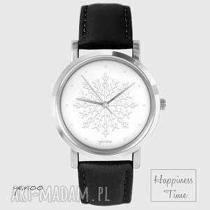 Prezent Zegarek - Płatek śniegu - skórzany, czarny, pasek