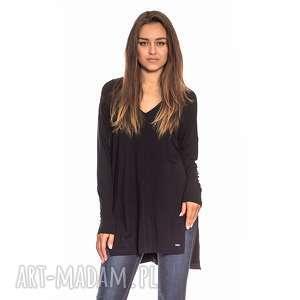 czarna tunika damska, casual, w szpic, długi rękaw, oversize, luźna