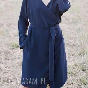 Jedwabna Granatowa, kimono, jedwab, kopertowo, kieszenie, elegancka, wygodna