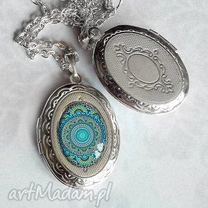 Prezent Medalion otwierany :: TURKUSOWA MANDALA, niebieski, srebrny, sekretnik
