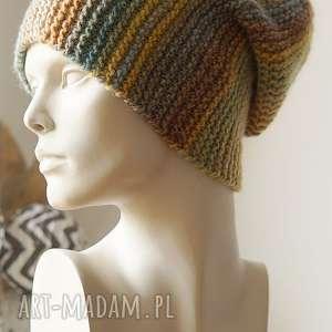 czapki czapka multikolor no 10, czapka, wełniana, cieniowana, dziergana, kolorowa