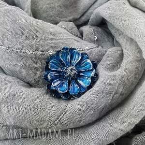 handmade broszki 1282/mela broszka z żywicy kwiat, niebieski
